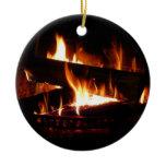 Fireplace Warm Winter Scene Photography Ceramic Ornament