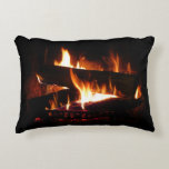 Fireplace Warm Winter Scene Photography Decorative Pillow
