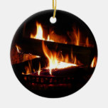 Fireplace Warm Winter Scene Photography Double-Sided Ceramic Round Christmas Ornament