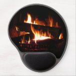 Fireplace Warm Winter Scene Photography Gel Mouse Pad
