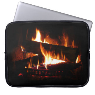Fireplace Warm Winter Scene Photography Laptop Sleeve