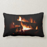 Fireplace Warm Winter Scene Photography Lumbar Pillow