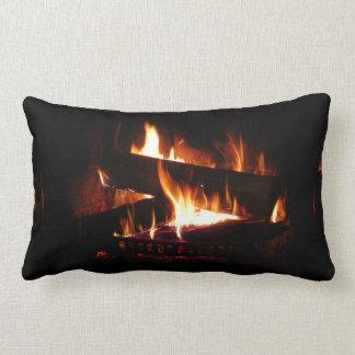 Fireplace Warm Winter Scene Photography Lumbar Pillow