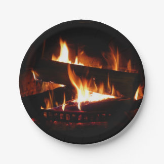Fireplace Warm Winter Scene Photography Paper Plate