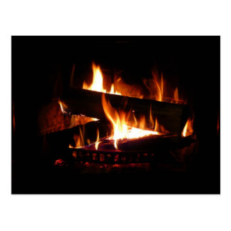 Fireplace Warm Winter Scene Photography Postcard