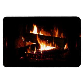 Fireplace Warm Winter Scene Photography Rectangular Photo Magnet