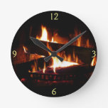 Fireplace Warm Winter Scene Photography Round Clock