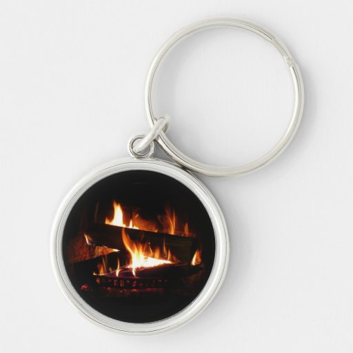 Fireplace Warm Winter Scene Photography Silver-Colored Round Keychain
