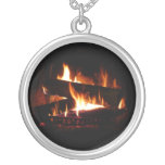 Fireplace Warm Winter Scene Photography Silver Plated Necklace
