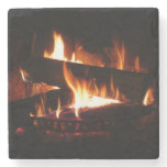 Fireplace Warm Winter Scene Photography Stone Coaster