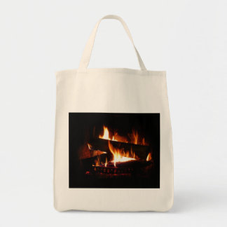 Fireplace Warm Winter Scene Photography Tote Bag
