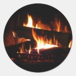 Fireplace Warm Winter Scene Round Sticker