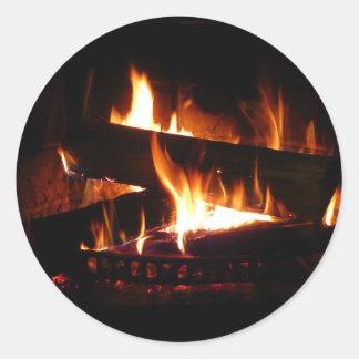 Fireplace Warm Winter Scene Classic Round Sticker