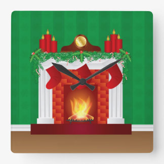 Fireplace with Christmas Decoration Clock