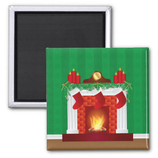 Fireplace with Christmas Decoration Magnet