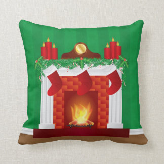Fireplace with Christmas Decoration Pillow