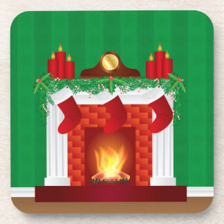 Fireplace with Christmas Decorations Coasters