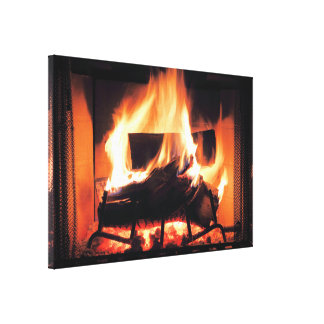 Fireplace Wrapped Canvas Canvas Print