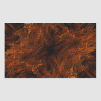 Firery Orange Abstract Fractal Rectangle Sticker