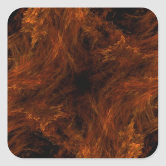 Firery Orange Abstract Fractal Square Sticker