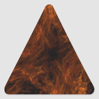 Firery Orange Abstract Fractal Triangle Sticker