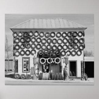 Firestone Tire Shop, 1940. Vintage Photo Poster
