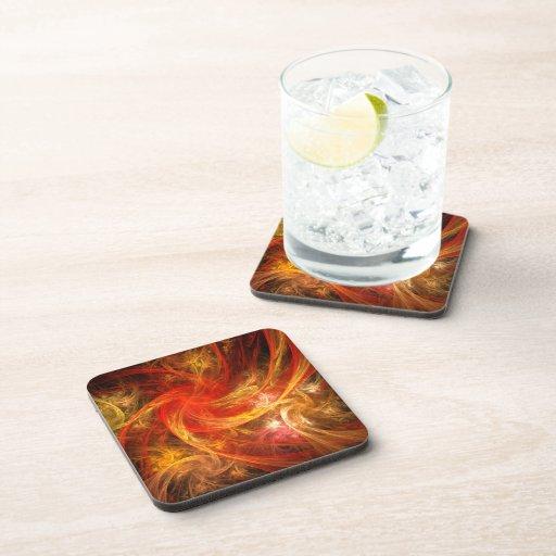 Firestorm Abstract Art Cork Coaster