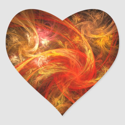 Firestorm Abstract Art Heart Sticker