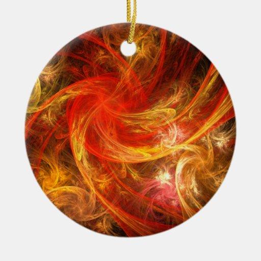 Firestorm Abstract Art Round Ornament