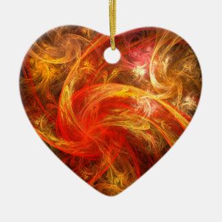 Firestorm Nova Abstract Art Heart Ornament