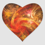 Firestorm Nova Abstract Art Heart Sticker