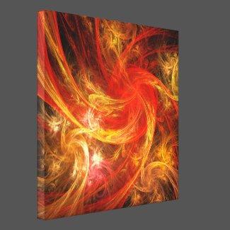 Firestorm Nova Abstract Art Wrapped Canvas Print
