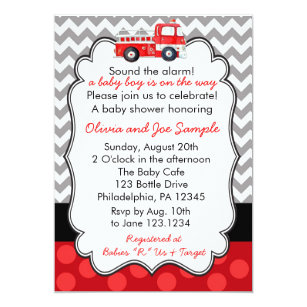 Sample invitations announcements zazzle firetruck baby shower invitation stopboris Image collections