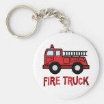 Firetruck Basic Round Button Keychain
