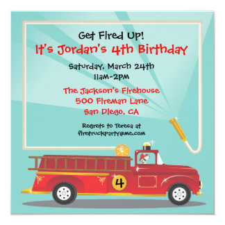 Firetruck Birthday Party Invitation