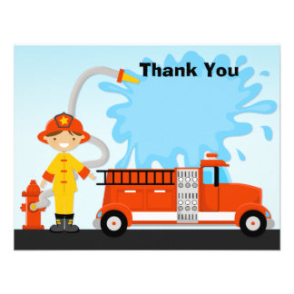 Firetruck Birthday Party Thank You Card Personalized Invitation