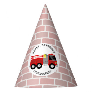 Firetruck + Bricks Birthday Party Hat
