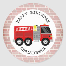Firetruck   Bricks Birthday Party Sticker