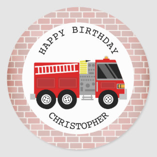 Firetruck + Bricks Birthday Party Sticker