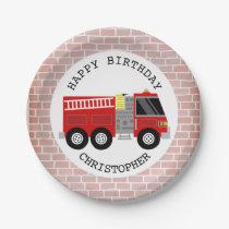 Firetruck   Bricks Firefighter Birthday Party Paper Plate