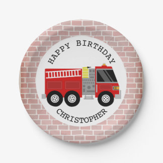 Firetruck + Bricks Firefighter Birthday Party 7 Inch Paper Plate