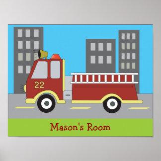 FIRETRUCK Fire Engine Boys Room Print