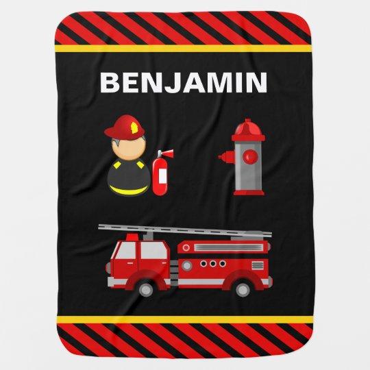 Firetruck Firefighter Baby Blanket