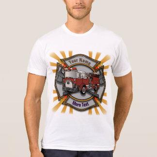 Firetruck Firefighter Maltese Cross mens white t-s Tee Shirt