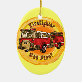 Firetruck Got Fire Double-Sided Oval Ceramic Christmas Ornament