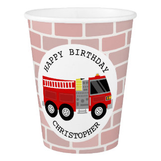 Firetruck Kids Birthday Party Cups