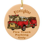 Firetruck Parking Ceramic Ornament