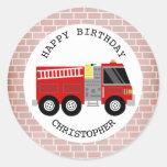 Firetruck + Pegatina de la fiesta de cumpleaños de