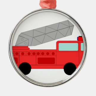 Firetruck rojo lindo adorno redondo plateado
