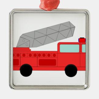Firetruck rojo lindo adorno cuadrado plateado